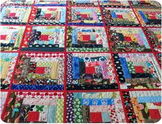 quilt as you go log cabin scrap quilt. love!
