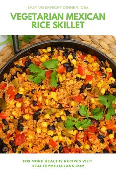 If you're looking for an amazing Meatless Monday option, this Mexican Rice Skillet never disappoints. It's packed with protein and fiber, plus lots of sweet and colorful veggies the kids will absolutely love. Vegetarian Mexican Rice, Vegetarian Recipes, Healthy Recipes, Clean Eating Challenge, Tomato Vegetable, Recipe Details, Easy Weeknight Dinners, Meatless Monday, Skillet