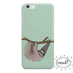 Sloth lllustrated cases and skins. Available on iPhone, Samsung Galaxy, iPad, iPad Mini, iPad Air, Macbook and PC Laptop, just choose from the dropdown