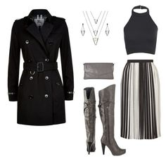 """""""Clouds of gray"""" by sidneilu ❤ liked on Polyvore featuring G by Guess, Burberry, Topshop, Latico and BERRICLE"""