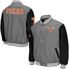 Mens Texas Longhorns Gray Class Letterman Jacket Tar Heels Football e78a807a7