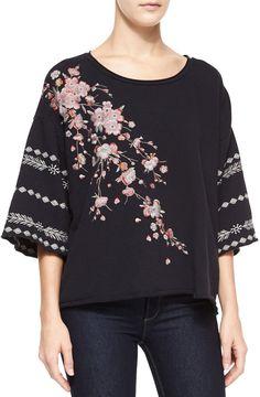 JWLA for Johnny Was Noriko Half-Sleeve Cherry Blossom Embroidered Sweatshirt