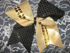Gold Spandex & Black Sparkle Cheer Bow,Game Day,Cheerleader, 3in ribbon