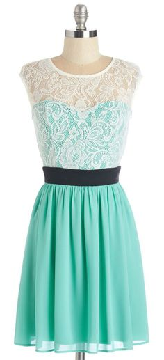 Mint and White Lace Dress