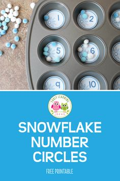 Looking for winter math activities for your kids? Try these snowflake number circles. Use the free math printables in muffin tins or use them to make counting containers. Many ideas are included for counting, number sense, and even basic addition. Winter Activities For Kids, Preschool Learning Activities, Preschool Lessons, Kindergarten Math, Preschool Activities, Preschool Centers, Number Activities, Counting Activities, Winter Thema