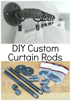 Check out these rustic DIY custom curtain rods using black pipe and curtain clips. They're a quick and easy alternative to store expensive store bought rods.