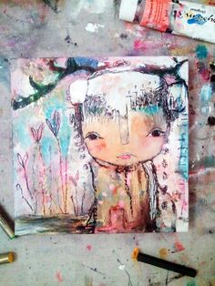Whimsical Owls and Other Mixed Media Art From the Heart by Juliette Crane: NEW Mixed Media Painting - The Journey