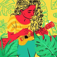 Yetsire Iglesias (Yeti), ilustradora mexicana y storyteller - Kalot Music Illustration, Woman Illustration, Character Illustration, Freelance Illustrator, Ukulele, Storytelling, Disney Characters, Fictional Characters, Vibrant Colors