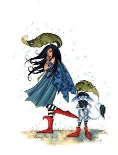 Amy Brown Ready for Rain Fairy Print