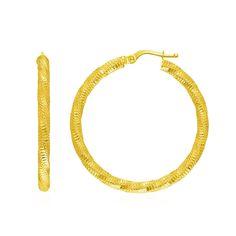 14K Yellow Gold Spiral Texture Hoop Earrings