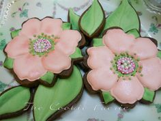 Chocolate Camellia Blossom Cookies with Royal Icing for Wedding Shower by Robin Traversy {The Cookie Faerie}.