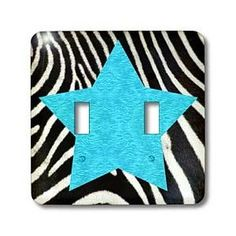 Janna Salak Designs Prints and Patterns - Punk Rockabilly Zebra Animal Stripe Blue Star Print - Light Switch Covers - double toggle switch.  Amazon