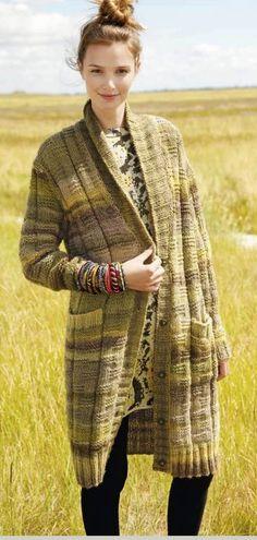 Long Cardigan with Shawl Collar in ggh Joker - Rebecca Knit Kit – I Wool Knit Knitting Kits, Knitting Needles, Purl Stitch, Brown Beige, Long Cardigan, Shawl, Joker, Stripes, Wool