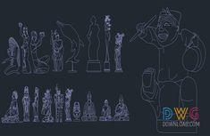 Stone Statues Cad Blocks » DwgDownload.Com Stone Statues, Cad Blocks, Sculpture, Drawings, Free, Decor, Decoration, Sculpting, Dekoration