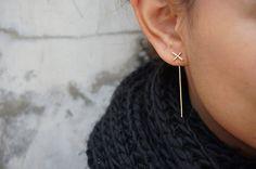 Gold X Ear Jacket Thin Cross Earrings Bar Earrings by Henju