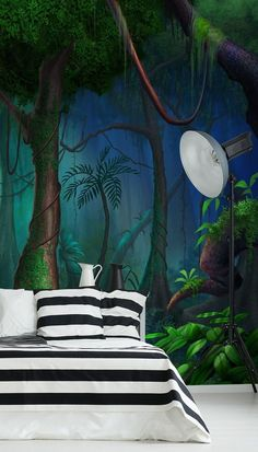Do you love being amongst the trees? Then why not bring the beauty of the woodland to your bedroom with this Rainforest mural from Wallsauce.com! Rich in dark green and turquoise hues, this dark and dramatic wallpaper is the perfect choice for a tranquil and cosy bedroom. Style with monochrome bedding and furniture such as black and white striped bedding and black and white geometric footstool to place full emphasis on the beautiful colour scheme within the mural. Shop the look at… Striped Bedding, Cosy Bedroom, Dark Wallpaper, Beautiful Bedrooms, Designer Wallpaper, Wall Murals, Color Schemes, Outdoor Decor, Furniture