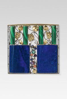 Josef Hoffmann, brooches, 1908. Made for Wiener Werkstätte, Vienna. Goldsmith Eugen Pflaumer. Via Im Kinsky