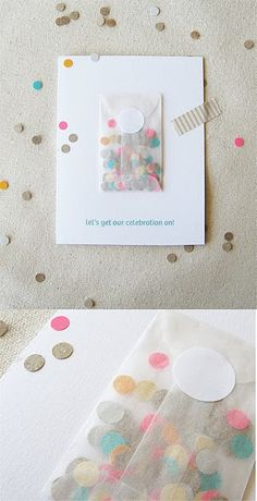 Ideia criativa! Super convite de festas em geral com confetes! Alegria desde do convite!   Festas   Madame Inspiração