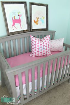 Beautiful Gray Crib Makeover with Annie Sloan Chalk Paint   TheTurquoiseHome.com