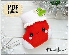 Christmas stocking felt pattern Christmas patterns felt stocking PDF pattern Stocking sewing pattern Christmas ornaments felt pattern