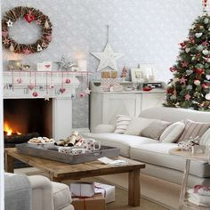 Elegant Christmas Country Living Room Decor Ideas is to make everyone feel at home by using latest trends and ideas without overwhelming them. Beautiful Christmas Trees, Elegant Christmas, Noel Christmas, White Christmas, Christmas Lights, Scandi Christmas, Christmas Design, Christmas Ornaments, Farmhouse Christmas Decor