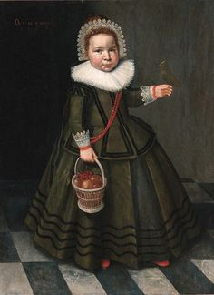 Attributed to Wybrand-Simonsz. de Geest (1592-1659) — Portrait of a Young Girl in a Grey Dress with a Ruff and a Lace Headdress, Holding a Basket of Fruit with a Bird Perched on Her Hand, 1632  (582x800)