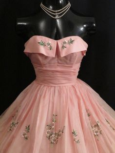 Vintage 1950's 50s Cupcake Strapless PINK Silk by VintageVortex, $399.99 i wish there was a full picture of this dress