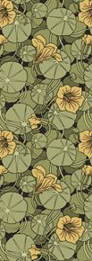 {MP Verneuil approx c 1896 via Trustworth} A rich and heady interpretation of stylized flowers and foliage. This Art Nouveau design glories in nature's abundance. Muted tones of green, yellow and red combine to create this lush organic whole.