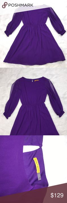 NWT: Alice & Olivia Purple Silk Dress- Small NEW WITH TAGS: Alice & Olivia Purple Silk Dress- Small. Measurements: Bust: 35inches around, Length: 32inches Alice + Olivia Dresses Midi