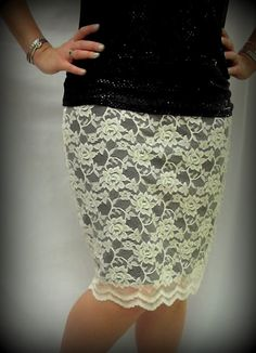 How to sew a lace pencil skirt, I'd prefer a white underlay instead of black.. I'll have to get my mom to help with this!