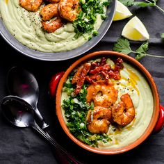Cold Shrimp Avocado Bisque - Chilled avocado soup made dairy free with coconut milk, avocado and smoky paprika shrimp. 10 minutes to make and is perfect cold summer soup recipe. Avocado Soup, Avocado Recipes, Shrimp Avocado, Summer Soup Recipes, Cold Soups Recipes, Seafood Recipes, Cooking Recipes, One Pan Chicken, Crispy Chicken