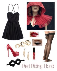 """Halloween Costume #2"" by shieldprincess ❤ liked on Polyvore featuring Falke, Giuseppe Zanotti, Chicnova Fashion, Butter London, Humble Chic, Masquerade, ALDO, red, riding and hood"