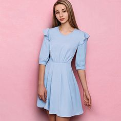 Blue Ruffles Mini Half Sleeve Party Dress b4e85100267