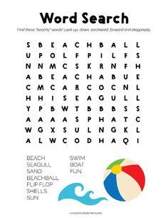 Summer Word Search Printable - Free printables for kids Word Puzzles For Kids, Word Games For Kids, Activity Sheets For Kids, Printable Puzzles For Kids, Fun Activities For Kids, Free Printables, Car Activities, Bonding Activities, Kids Word Search