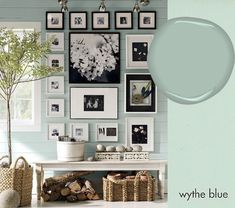 Wythe Blue (Benjamin Moore)/I have also seen this wall color listed as BM Harbor Haze.....