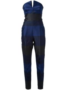 6cd9ac7de311 Navy and black silk-blend strapless jumpsuit from Stella McCartney  featuring a V slit to the front
