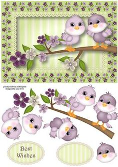 Spring Flowers Birdie Birthday on Craftsuprint - Add To Basket!