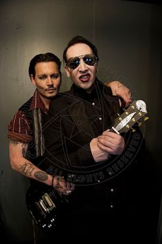 Johnny Depp and  Marilyn Manson at backstage