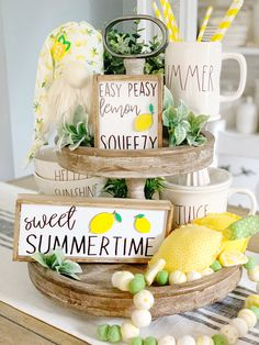Lemon signs lemonade signs easy peasy lemon squeezy when life gives you lemons lemonade signs tiered tray lemon signs These cute lemon signs are a perfect accent for your farmhouse and Rae Dunn lemon and summer decor. The lemons are laser cu Lemonade Sign, Lemon Kitchen, Summer Kitchen, Porch Welcome Sign, Tray Styling, Tiered Stand, Porch Signs, Tray Decor, Beach Cottages