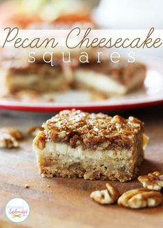 Pecan Cheesecake Squares Recipe at Positively Splendid - A layer of shortbread, a layer of cheesecake, and a layer of pecan pie in every bite. A perfect dessert recipe for fall! Looks yummy! Sub the corn syrup and flour of course Pecan Cheesecake Squares, Cheesecake Recipes, Cookie Recipes, Dessert Recipes, Cheesecake Bars, Cranberry Cheesecake, Snacks, Cookies Et Biscuits, Bar Cookies