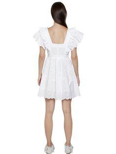EMBROIDERED COTTON POPLIN EYELET DRESS Ruffle Shorts, Eyelet Dress, Luxury Shop, Poplin, Cold Shoulder Dress, White Dress, Short Sleeves, Dresses, Fashion