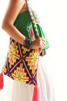 Huichol Geometric Embroidered Bag - hand made bags made and carried by Huichol men - for more of Mexico & to add to your collection, visit www.mainlymexican... #Mexico #Mexican #Huichol