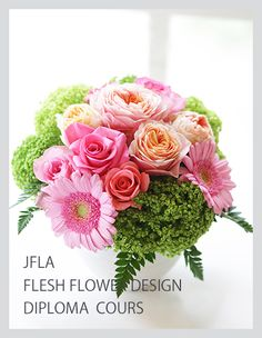 JFLA Fresh Flower Diploma Class.フレッシュフラワー認定資格で学ぶ作品です。お写真は生徒様作品。