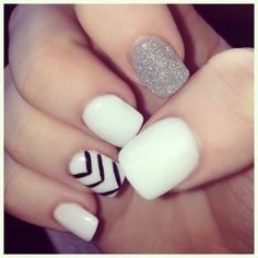 Solar nails black white silver glitter summer nails naildesign this is two coats women nails prinsesfo Choice Image