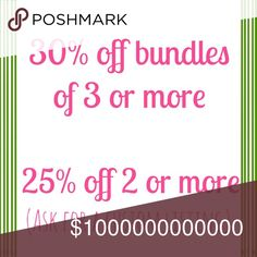 Reasonable Offers Welcome! Love an item? But don't love the price? Feel free to make a reasonable offer. I might just accept it! Love multiple items? Bundles of 3 or more are 30% off! Other