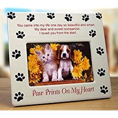 Dog Memorial Picture/ Photo Frame - Paw Prints on My Heart - Pet Sympathy Gift - Pet Bereavement Gift - Pet Frame - Pet Memorial Plaque