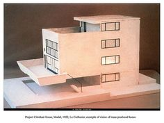 Project Citrohan House, Model, 1922, Le Corbusier, example of vision of mass-produced house