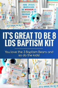 This kit will make your baptism celebration or baptism preview easy and memorable so that you can sit back, relax, and enjoy these special moments. #LDSBaptism #Baptism #LatterDaySaint #Ministering #MinisteringPrintables #LDSprintables Circle Punch, Hole Punch, Cinnamon Bears, Teddy Grahams, Bottle Cap Necklace, Service Ideas, Hosting Thanksgiving, Thing 1, Bag Toppers
