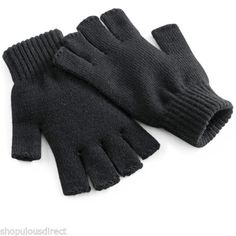 Beechfield-Knitted-Gloves-Fingerless-Winter-Mitts-Warm-Hand-Warmer-Mens-Ladies