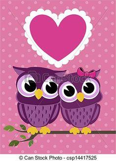 Vector - lindo, búhos, pareja, amor, corazón - stock de ilustracion, ilustracion libre de, stock de iconos de clip art, logo, arte lineal, retrato de EPS, Retratos, gráficos, dibujos gráficos, dibujos, imágenes vectoriales, trabajo artístico, Arte Vectorial en EPS